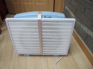 front view of HEPA attached to make DIY air purifier