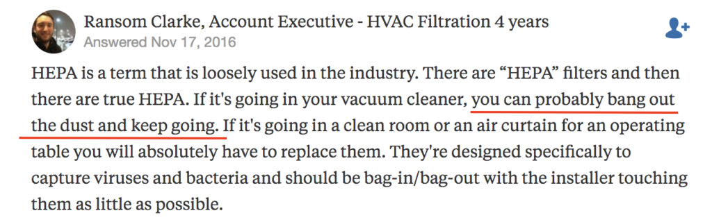 clean a HEPA filter by banging out the dust