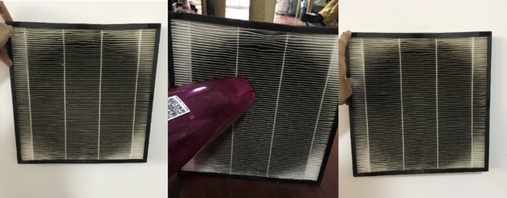 vacuuming HEPA filters to remove clogged dirt and reuse them