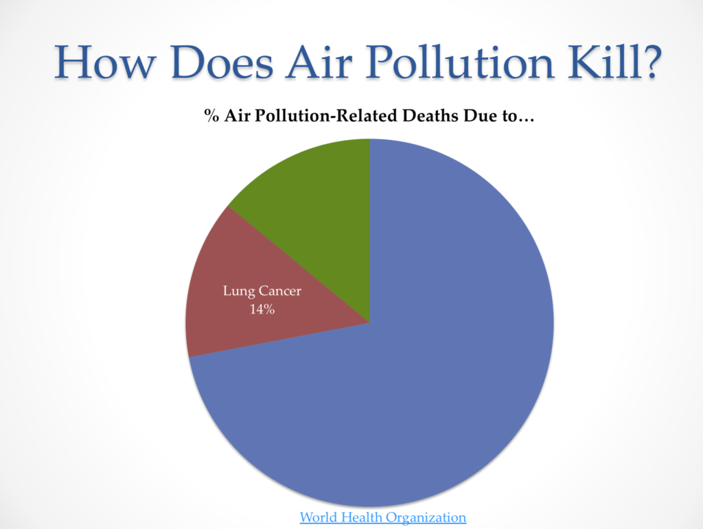 Outdoor PM2.5 deaths not from lung cancer
