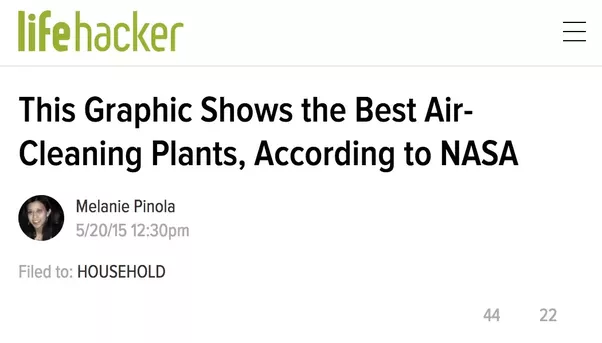 NASA study on filtering effect of plants to remove formaldehyde