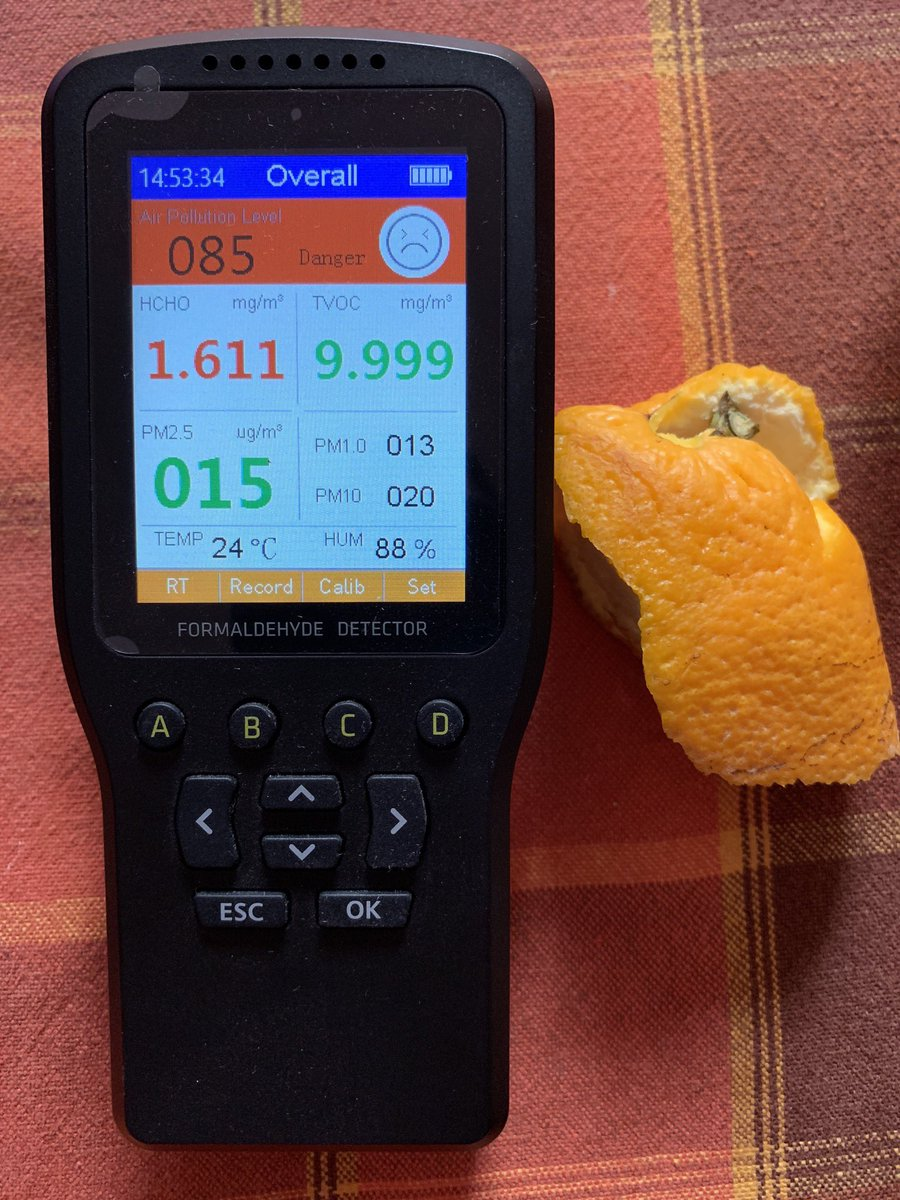 Formaldehyde detector orange test