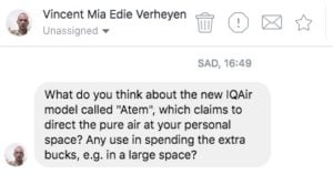Vincent's question regarding the IQAir Atem