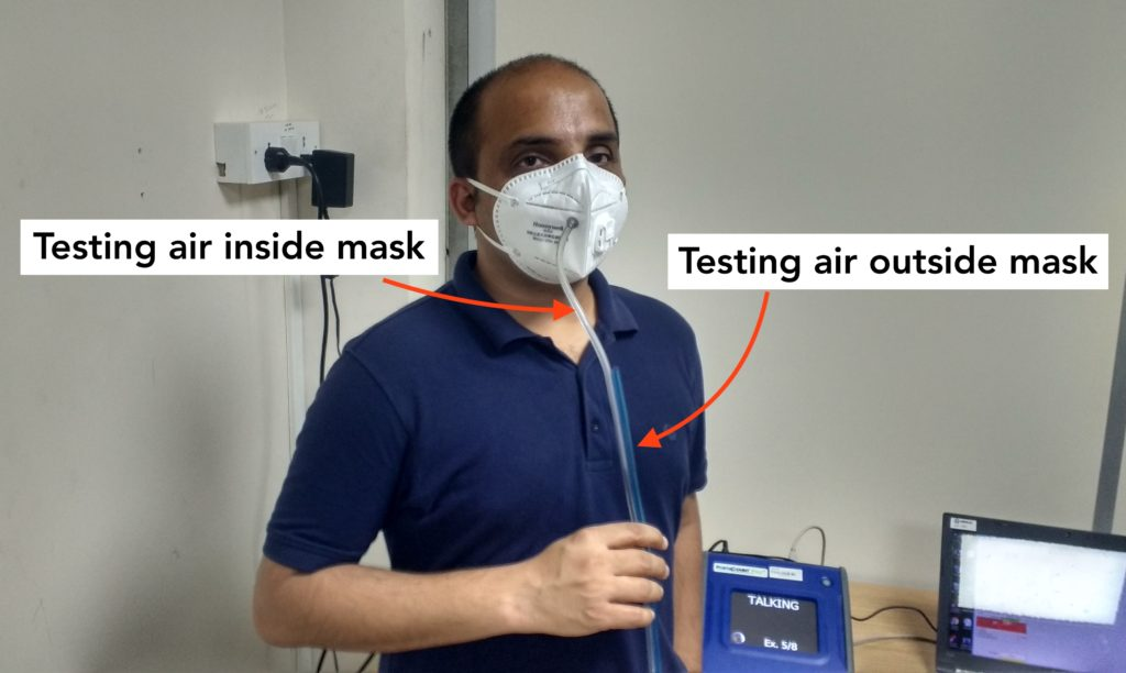Dhariyash fit test air pollution mask Mumbai India