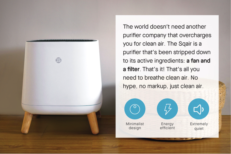 Sqair simple and effective on off no complicated air purifier