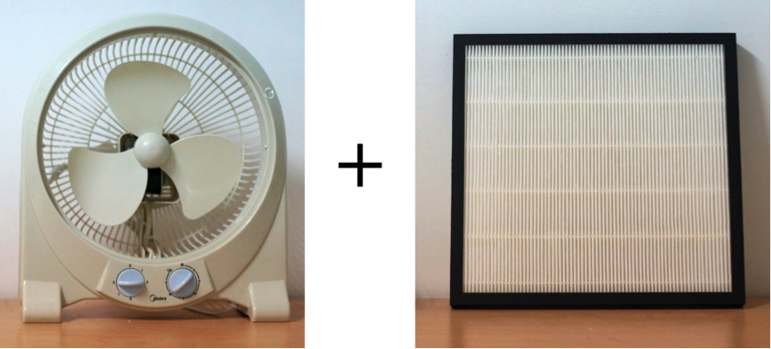 Air purifier simple as fan and filter