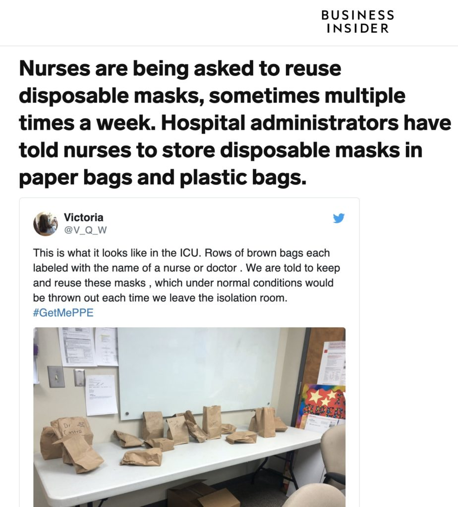 Nurses Told to Keep Masks in Bags dry out disinfect