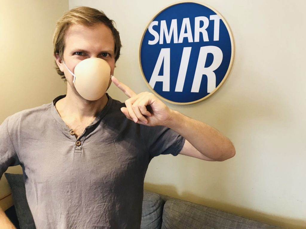 Paddy Robertson CEO Smart Air suggests bra insert a good choice for face masks