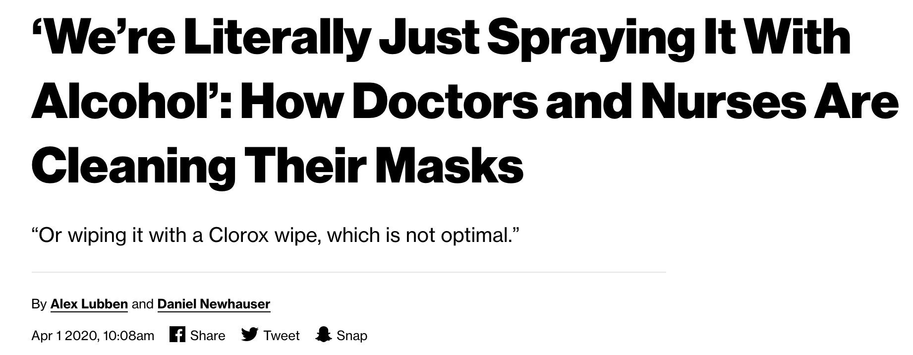 doctors sanitizing masks with alcohol
