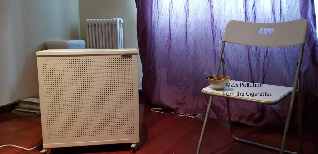 Test setup to find if air purifiers with HEPA filters lower humidity inside