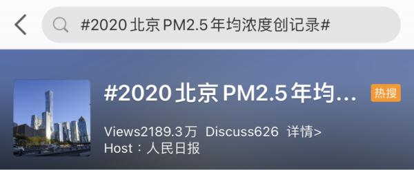 微博热搜#2020北京PM2.5年均浓度创纪录#