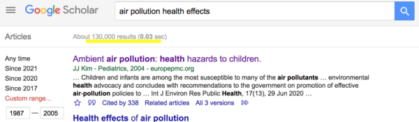 Air Pollution Effects on Health (1987-2005)