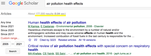 Air Pollution Effects on Health (2005-2021)