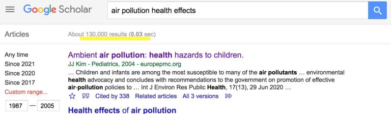 1987到2005年关于空气污染有害健康的研究有13万
