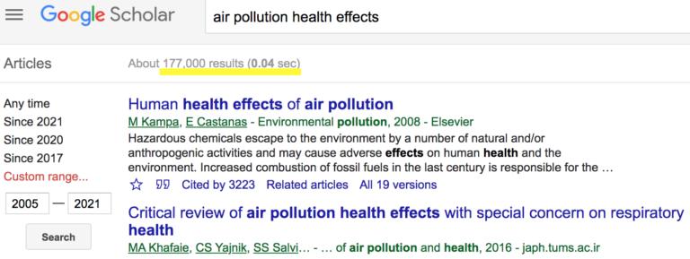 2005年至今关于空气污染有害健康的研究将近18万