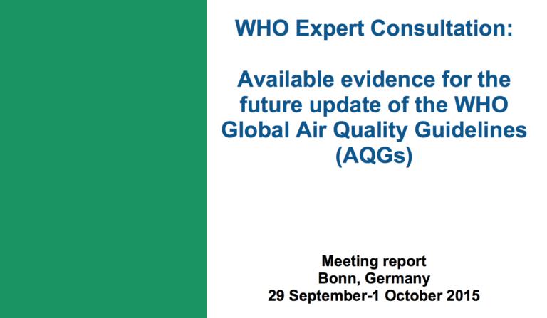 WH召集德国专家开会重新修订空气质量指南