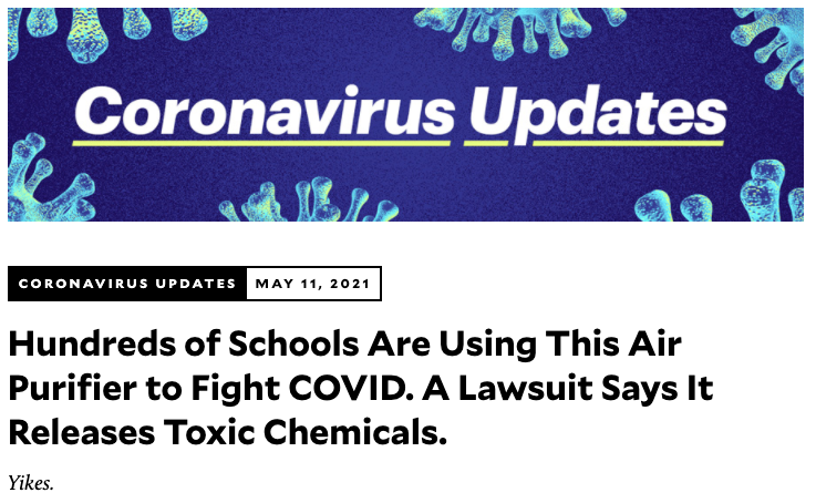 Purifiers used in schools that release toxic chemicals