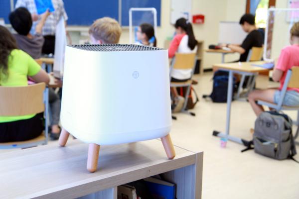 Smart Air Sqair air purifier used for clean air filtration in school classroom